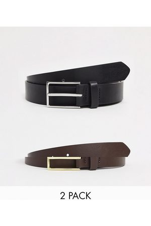 ASOS 2 pack slim belt in black and brown faux leather with silver and gold buckle SAVE