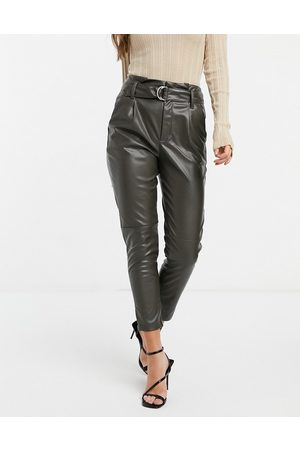 JDY Leather look tapered trousers with belt in green