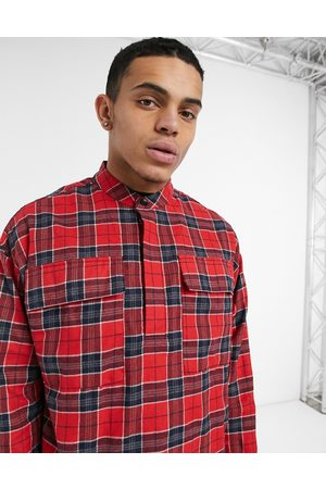 Sixth June Tartan half button shirt in red check