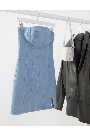 ASOS Hourglass denim seamed mini dress in lightwash