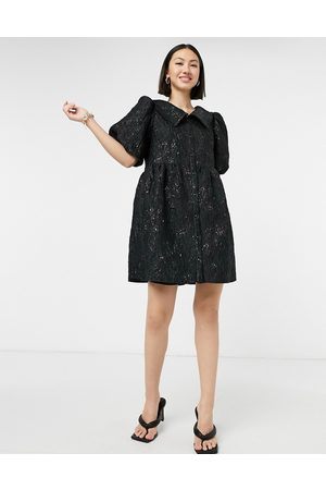 & OTHER STORIES Jacquard frill collar dress in black