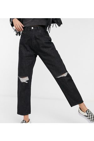 Wednesday's Girl High waist mom jeans with ripped knees in black wash denim
