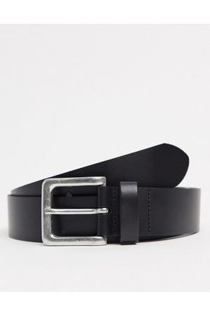 ASOS Leather wide belt in black with burnished silver buckle