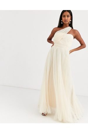 ASOS One shoulder tulle wired hem maxi dress in cream