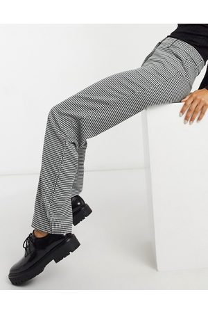 Monki Simone gingham print trousers in black