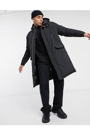 ASOS Puffer parka jacket in black