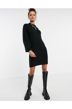 Object Knitted dress with deep cuff in black