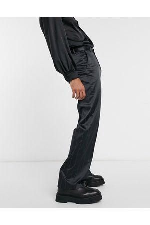 ASOS Wide leg smart trouser in sateen pin stripe