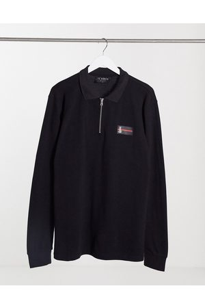 Il Sarto Luxe badge long sleeve polo in black
