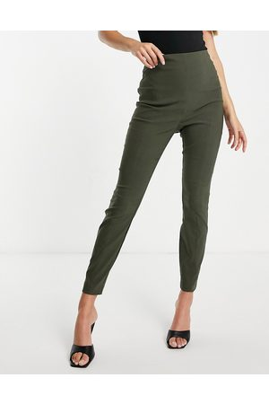 ASOS Hourglass high waist trousers in skinny fit in khaki