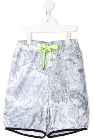 Alviero Martini Kids Pantalones cortos de deporte con motivo de mapa