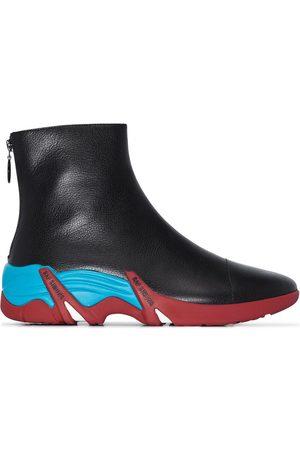 RAF SIMONS Black Cylon high top leather sneakers