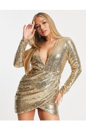 Club L Club L sequin mini dress with plunge front and wrap skirt in gold