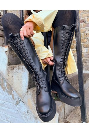 & OTHER STORIES Leather tall lace up chunky flat boots in black