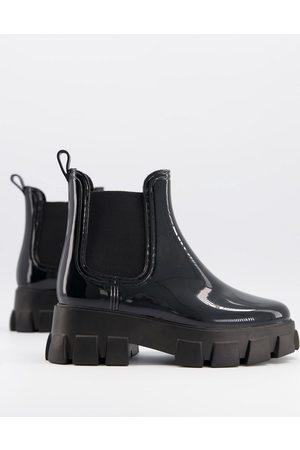ASOS Giana chunky chelsea rain boots in black
