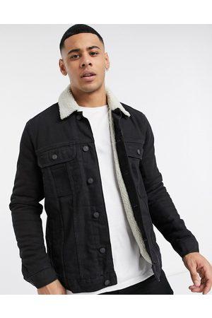 ASOS Denim jacket with ecru borg lining in black