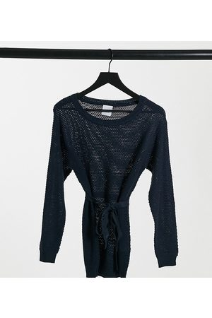 Mama Licious Mamalicious belted jumper in navy