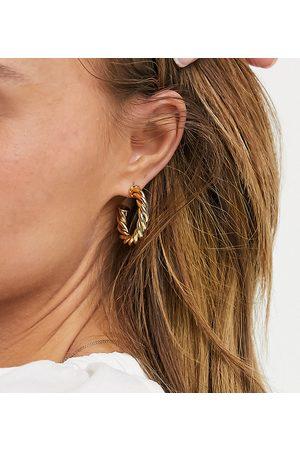 ASOS 14k gold plated twist hoop earrings