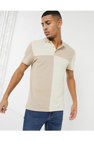ASOS Polo shirt with grid colour block in pique