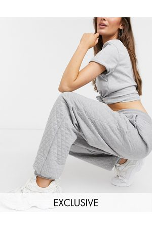 Reclaimed Vintage Inspired unisex quilted jogger in grey