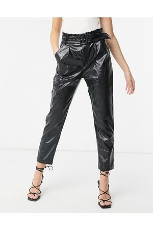 In The Style X Olivia Bowen pu high waist trouser with belt in black