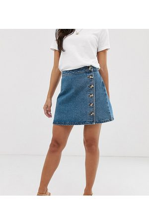 ASOS ASOS DESIGN Petite denim wrap skirt with side buttons in blue