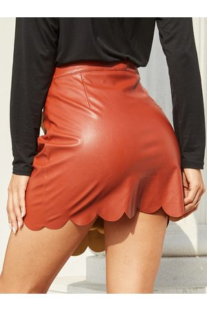 YOINS Brown Tiered Design Faux Leather Mini Skirt