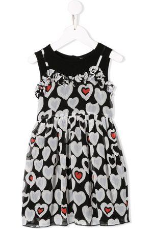 Emporio Armani Kids Niña Estampados - Vestido acampanado con estampado de corazones