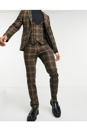 Twisted Tailor Suit trousers in brown and grey check