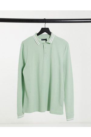ASOS Tipped pique long sleeve polo shirt in pastel green
