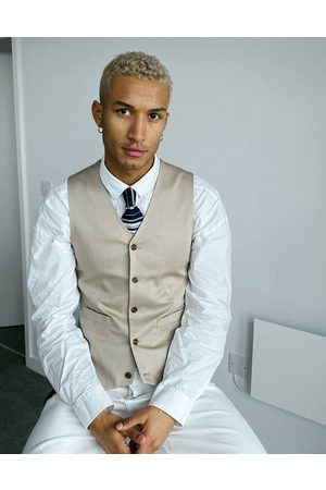 ASOS Wedding super skinny cotton suit waistcoat in stone