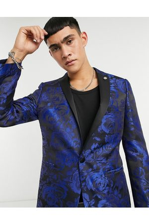 Twisted Tailor Suit jacket with jaquard floral print in navy