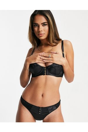 Figleaves Madison satin thong in black