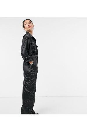 COLLUSION Mujer Largos - Satin jumpsuit with contrast stitch in black