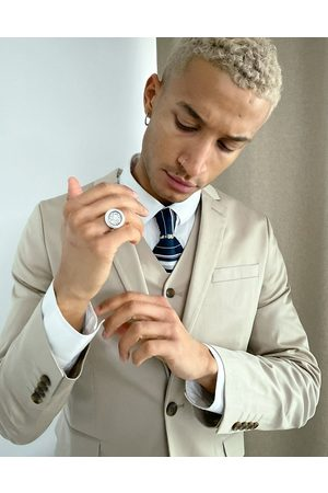 ASOS Wedding cotton super skinny suit jacket in stone