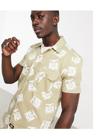 Dickies X Obey short sleeve work shirt in khaki