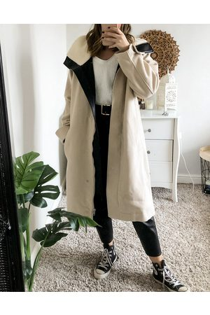 ASOS Luxe oversized parka in cream