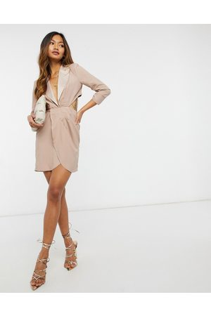 ASOS Tux mini dress with open back in Pink