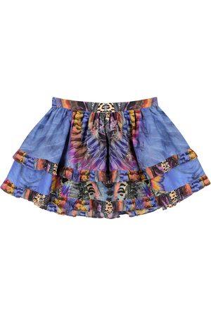 Camilla Embellished printed cotton-blend skirt