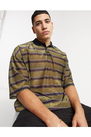 ASOS Oversized polo in glittery metallic stripe