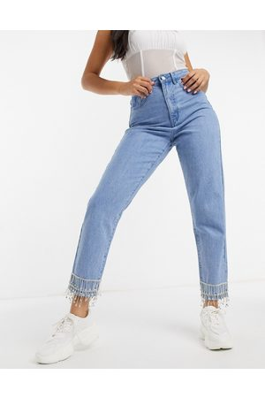 Missguided Mujer De cintura alta - Embellished riot mon jean in blue