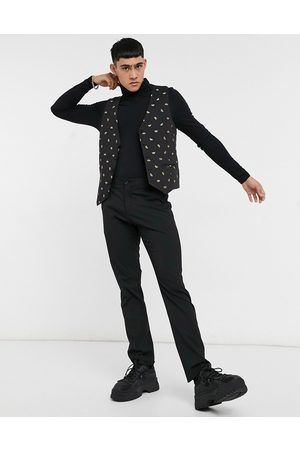 Bolongaro Skinny fit all over bee embroidered suit waistcoat