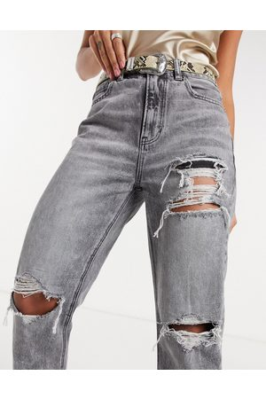 American Eagle Mujer De cintura alta - Mom jeans with ripped knees in washed black