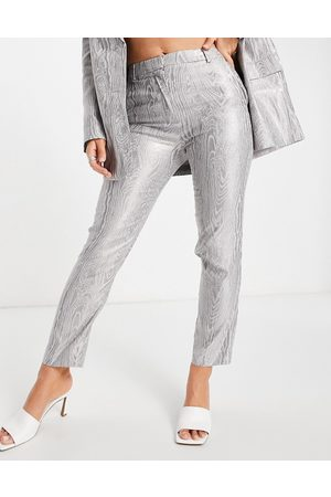 ASOS Moire suit trouser in metallic