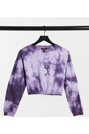 Wednesday's Girl Cropped sweatshirt with celestial print in tie dye co