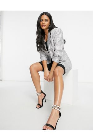 ASOS Moire suit blazer in metallic