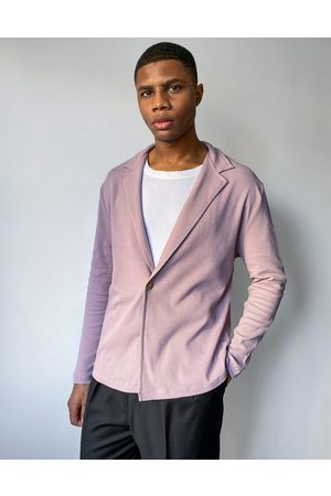 ASOS Hombre Manga larga - Relaxed fit long sleeve waffle wrap jersey shirt in washed purple