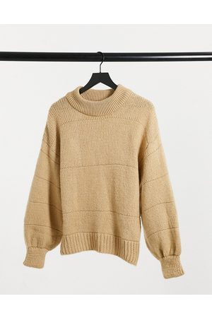 ASOS Oversized jumper with stripe stitch detail in oatmeal