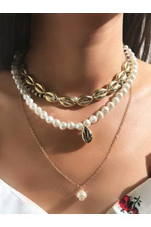 YOINS Pearl Jewelled Shell Multi-layer Necklace