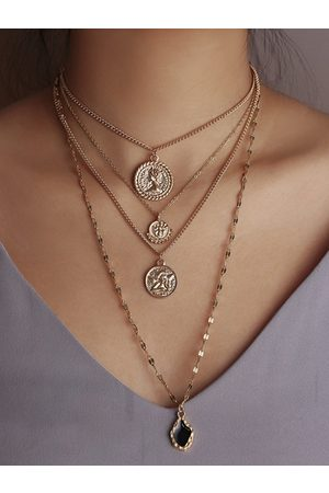 YOINS Gold Figure Coins Muti-layer Necklace